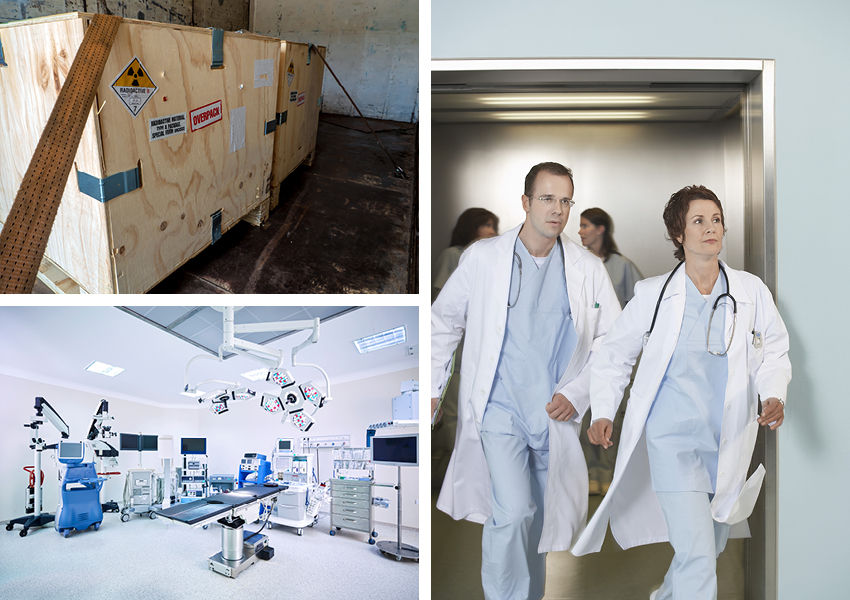 A collage of three images including a medical room, shipping containers, and two medical professionals exiting an elevator