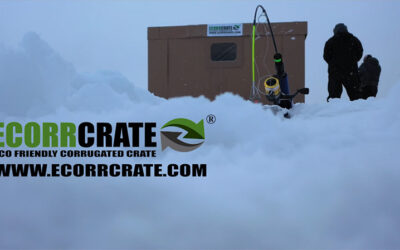 Ice Fishing in a Corrugated Paper Crate